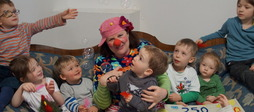 Konzept-e, element-i, Kinderbetreuung, Reutlingen, Tüftler, Kita, Clown, Cowns im Dienst, Spendenübergabe